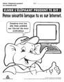 Elmer l'éléphant prudent te dit : Pense sécurité lorsque tu es sur Internet.